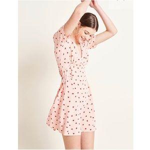 New pink heart print tea dress US 2
